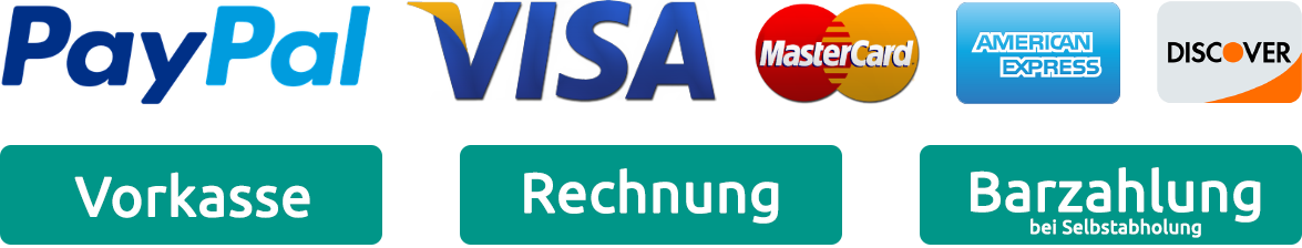 PayPal, Visa, MasterCard, American Express, Discover, Vorkasse, Rechnung, Barzahlung